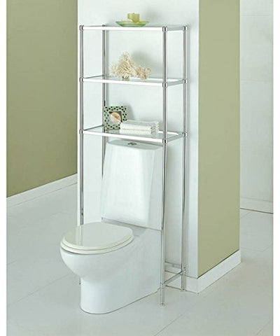 Over The Toilet 16951W-1 Bathroom Spacesaver with 3 Handy Tempered Glass Shelves in Shiny Chrome Finish 24.25L x 10.75W x 63.5H in.