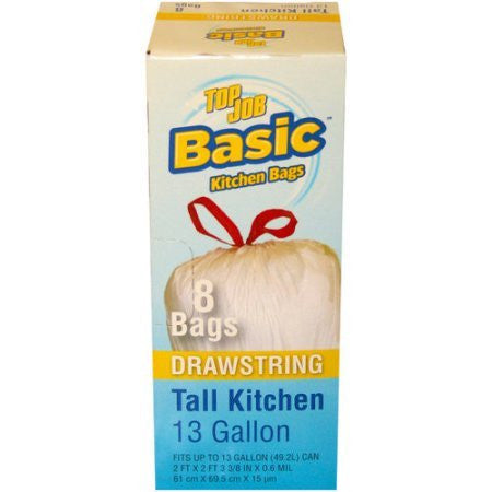 Top Job Basic Drawstring Tall Kitchen Trash Bags, 13 gal, 8 count