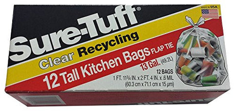Sure-Tuff Tall Kitchen Recycling Bags, 13 gal, Clear, 12 Count