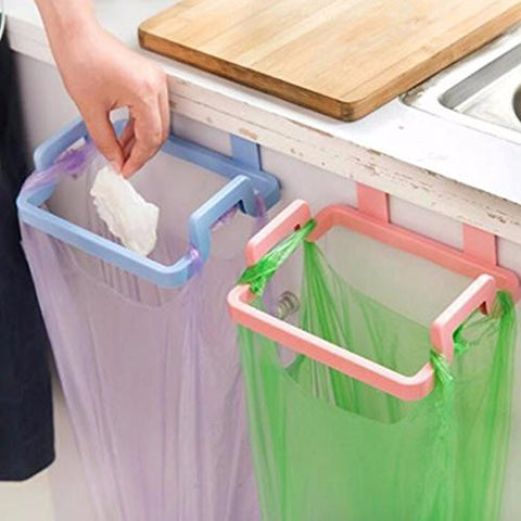 Kitchen Cabinet Hanging Rubbish Bag Holder Garbage Storage Rack Cupboard Hanger pink color