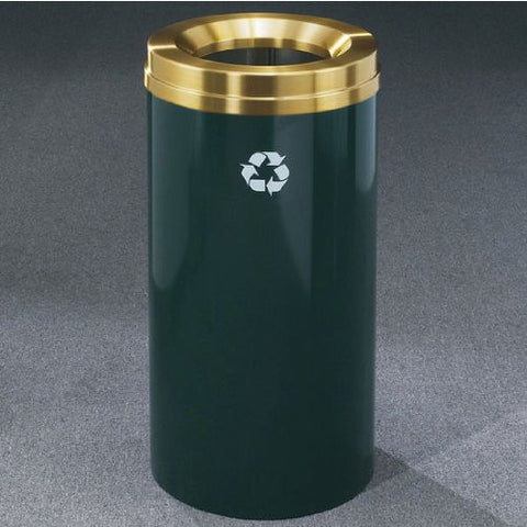 Glaro RecyclePro Satin Brass Cover Waste Receptacle, 16 Gal, 15 inch Dia x 33 inch H, Desert Stone, Shown in Hunter Green