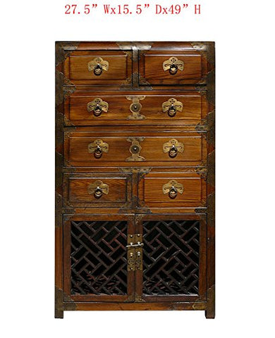 Korean Brass Hardware Dresser Storage Side Cabinet Awk2905