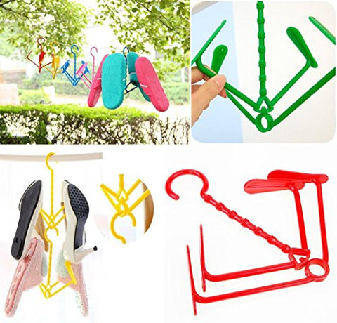 Gotd Drying Racks Laundry Clothesline Hanging Rack for Drying Shoes Set (1PC Random Color)