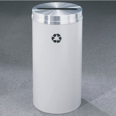 Glaro RecyclePro Matching Powder Coat Cover Paper Recycling Receptacle, 16 Gal, 15 inch Dia x 33 inch H, Desert Stone, Shown with Aluminum Cover in Unavailable Finish