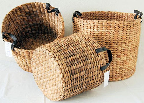 "Water Hyacinth Round Bin, Natural Color (15.5""D x 14.5""H)"