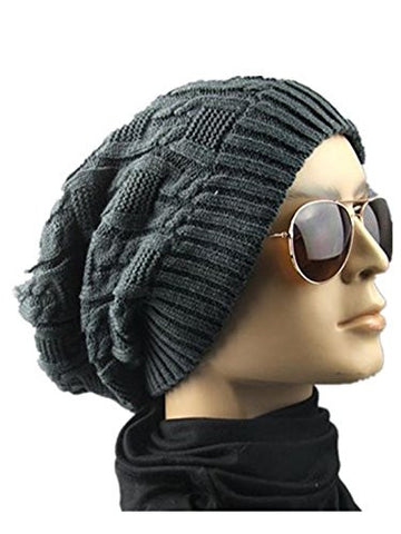Knitting Wool Hats,Hemlock Unisex Soft Caps Winter Warm Beret Hats (Dark Gray)