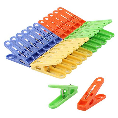 uxcell Plastic Home Laundry Clothes Socks Pants Clips Clamps Clothespins Hanger 24pcs