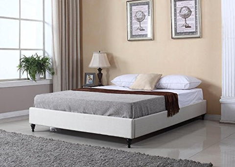 Home Life Cloth Cream Linen Chinese Non Headboard Platform Bed with Slats, King, Beige