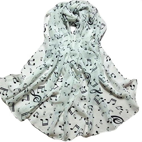 Shawl Muffler Scarves,Hemlock Women Printed Scarf Lady Chiffon Neck Scarves (White)