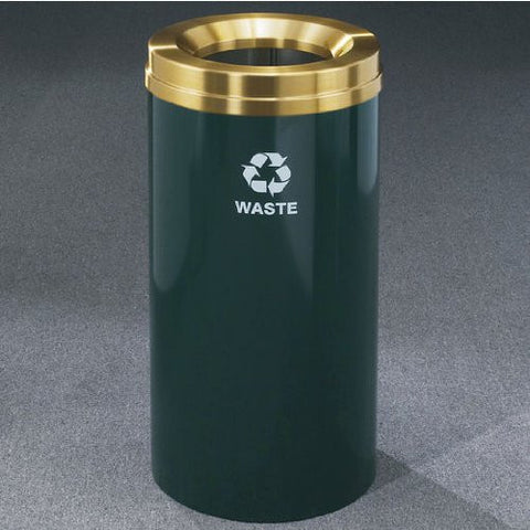 Glaro RecyclePro Satin Brass Cover Waste Receptacle, 16 Gal, 15 inch Dia x 33 inch H, Waste Message, Desert Stone, Shown in Hunter Green