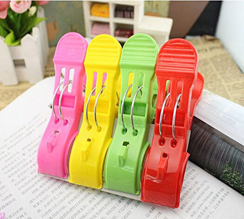 Fangfang 8pcs Durable Large Beach Towel Clips Plastic Clothespins Clothes Pegs Pins Clothes Hanger Clamp (Color:# 2)