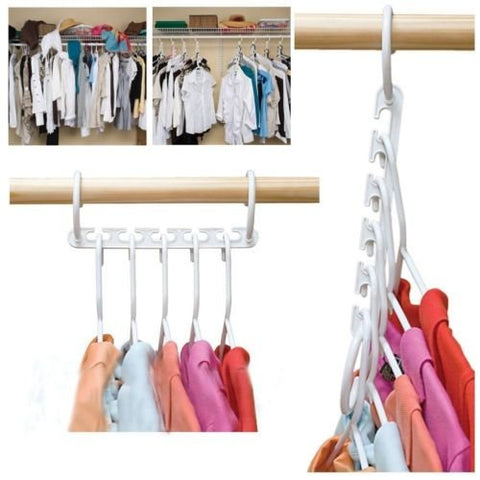 8pcs Clothes Hanger Rack Portable Plastic Clothing Hook Magic Closet Organizer