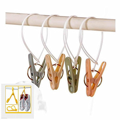GOOTRADES Laundry Hooks Clothespins Plastic Hanging Clips 15-pcs Set with Free Shoes Drying Rack