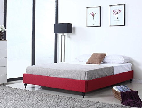Home Life Cloth Red Linen Chinese Non Headboard Platform Bed with Slats, Queen, Burgundy