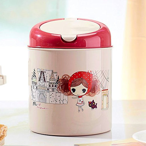 Creative Table Top Trash Can Plastic Swing Lid Countertop Table Trash Bin  (Red)