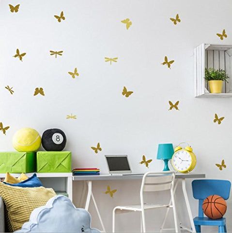 wall stickers home decor Livoty DIY Wall Simple And Creative Flying Butterflies Removable Wall Stickers (Gold)