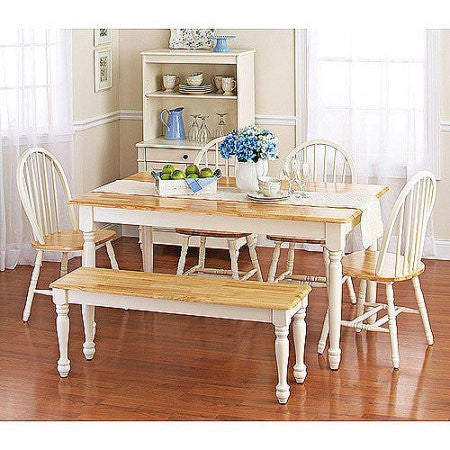 Classic Versatile Look Autumn Lane Farmhouse Dining Table White And Natural