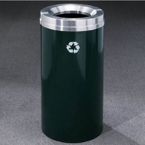 Glaro RecyclePro Matching Powder Coat Cover Waste Receptacle, 16 Gal, 15 inch Dia x 33 inch H, Satin Black, Shown in Hunter Green with Aluminum Cover