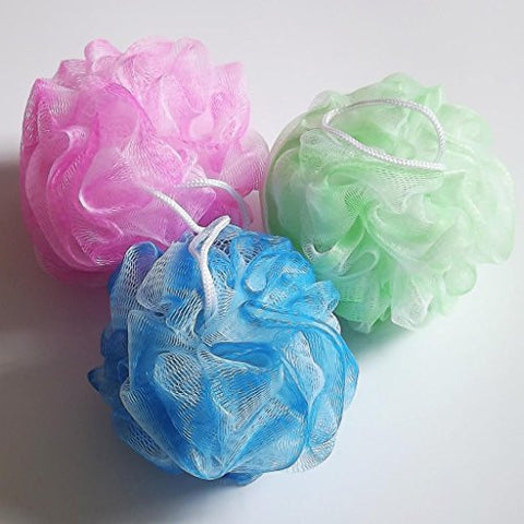 Bath Sponge Set Body Shower Scrunchie Puff Wash Scourer 3 colors