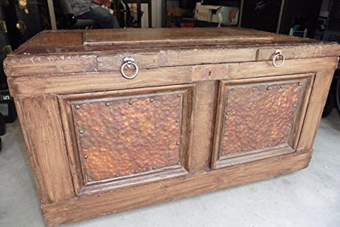 Vintage Trunk Chest Wooden & Copper Hand made Tool box ? books blankets storage