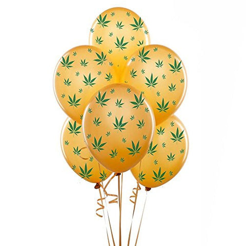 Marijuana Balloons 11 Inch Gold With Green Leaves Party Decoration Pkg/12