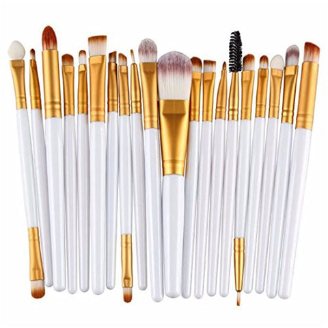 20PCs Makeup Brushes Sets,Hemlock Powder Eyeshadow Brush Tool Cosmetic Brush Kits (White 2)