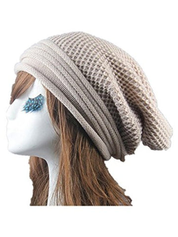 Knitted Wool Hats,Hemlock Unisex Hip Hop Caps Winter Warm Beret Hats (Beige)