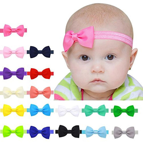 Baby Kids Bowknot Hairband,Hemlock Baby Girls Mini Elastic Headband (Hot pink)
