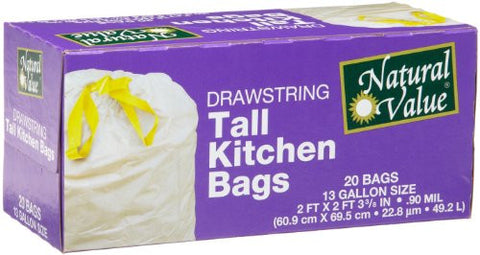 Natural Value 13 Gallon Drawstring Tall Kitchen Bags, 20 Bags