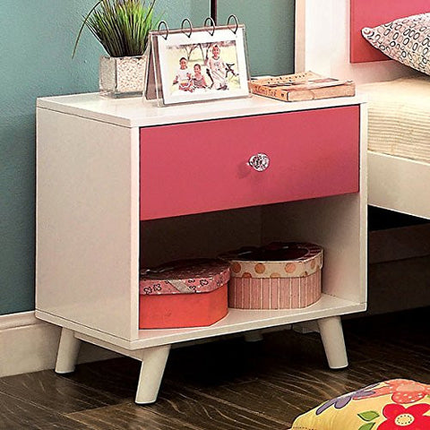 Furniture of America Kacie Modern Pink/White Youth 1-drawer Nightstand