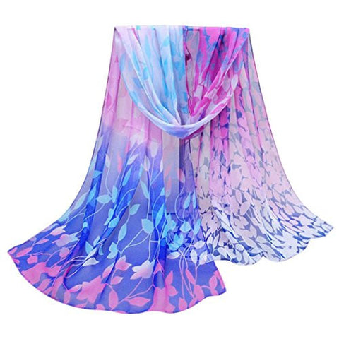 Chiffon Scarfs Shawl,Hemlock Women Shawl Scarf Wrap Soft Silk Scarves (Blue)