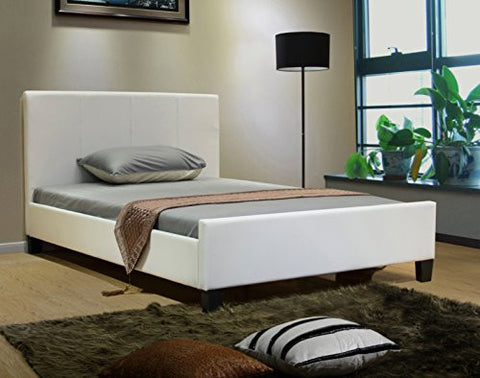 Greatime Twin Size, White Color Platform Bed