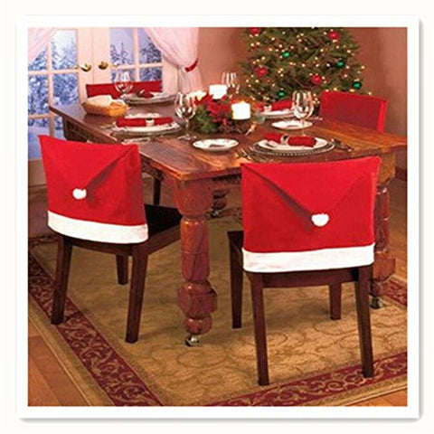 MAXGOODS Santa Clause Red Hat Chair Back Covers For Christmas Dinner Decor4 Pack