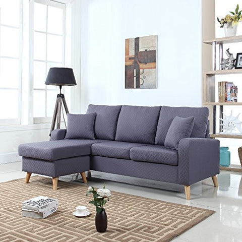 Mid Century Modern Linen Fabric Small Space Sectional Sofa with Reversible Chaise (Dark Grey)