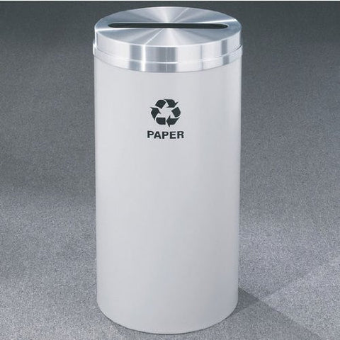 Glaro RecyclePro Satin Aluminum Cover Paper Receptacle, 16 Gal, 15 inch Dia x 33 inch H, Paper Message, Desert Stone, Finish Shown Not Available