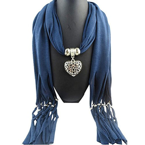 Long Cotton Scarves,Hemlock Women Necklace Scarf Lady Tassel Warm Muffler Scarf (Blue)