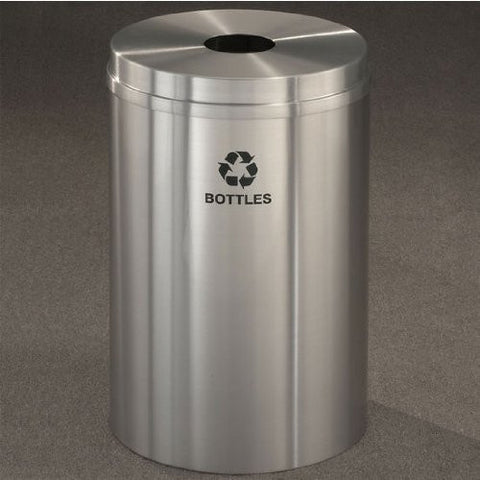 Glaro RecyclePro I Receptacle, 12 Gallon, 12 inch W, 5.5 inch Dia. hole, Cans message w/ Recycling Logo, Hunter Green Finish, Satin Brass Top, Shown in Satin Aluminum