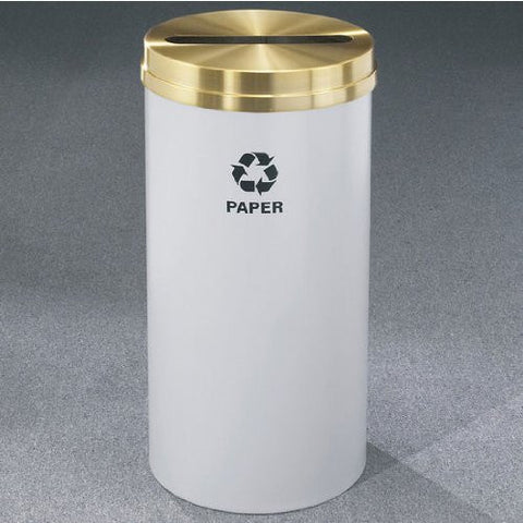 Glaro RecyclePro Satin Brass Cover Paper Receptacle, 16 Gal, 15 inch Dia x 33 inch H, Newspaper Message, Desert Stone, Shown with inch Paper inch Message in Unavailable Finish