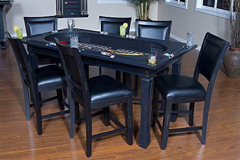 Burlington 7 Piece Convertible Game Table Chairs Set In Peppercorn