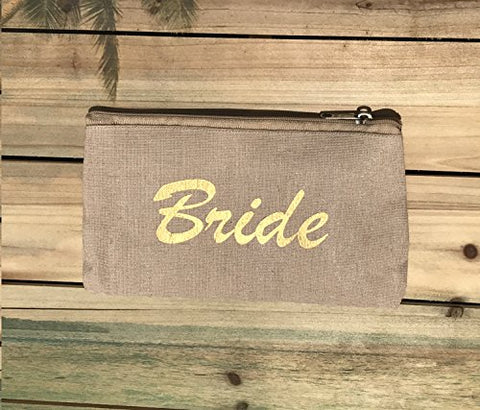 Canvas Bride Makeup Bag, Pouch with Zipper Closure,Bride Cosmetic Bag (Canvas)
