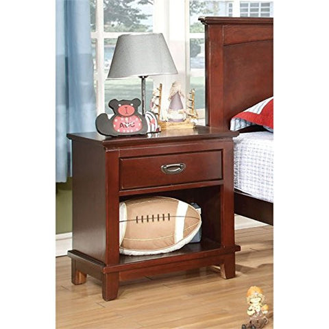 Furniture of America Hailey 1 Drawer Nightstand in Cherry