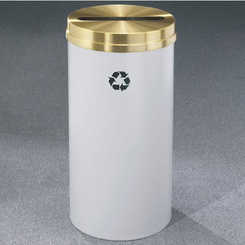 Glaro RecyclePro Satin Brass Cover Paper Recycling Receptacle, 16 Gal, 15 inch Dia x 33 inch H, Espresso Brown, Finish Shown Not Available