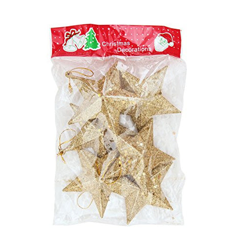 "CHN'S 3.5"" Christmas Tree Hanging Glitter Star Decorations Ornaments Baubles Pack of 6 (Gold)"