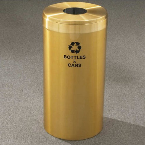 Glaro RecyclePro Value Series Receptacle, 15 Gallon, 12 inch W, 5.5 inch Dia. hole, Cans message w/ Recycling Logo, Satin Aluminum Finish, Satin Aluminum Top, Shown in Satin Brass