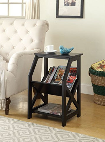 Black Finish Wooden X-Design Chair Side End Table Magazine Holder with 3-tier Shelf