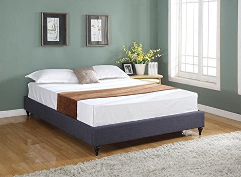 home life cloth charcoal linen chinese non headboard platform bed with slats queen blue