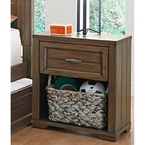 Logan Collection 1 Drawer Nightstand - Driftwood Grey