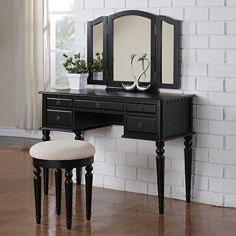 1PerfectChoice Tri Folding Mirror Vanity Set Makeup Table Dresser w/ Stool 5 Drawer Wood Black