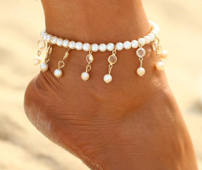 Excessorize Me Anklet Bohemian Imitation Pearl Anklet