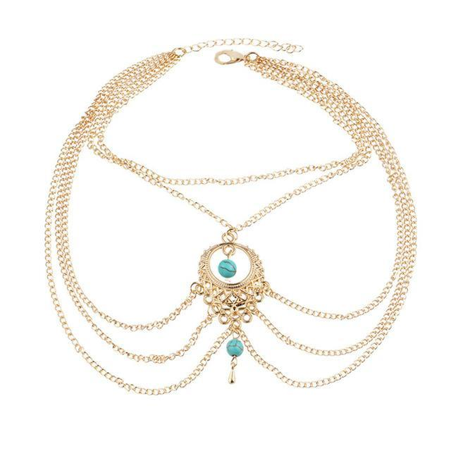 Excessorize Me Anklet Gold Turquoise Bead Tassel Anklet